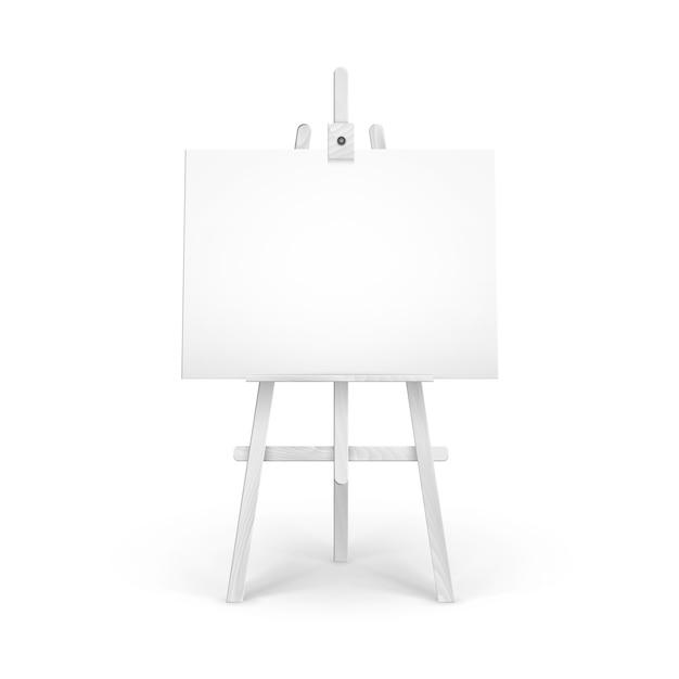 Weiße hölzerne staffelei mit mock up leere leere horizontale leinwand lokalisiert auf hintergrund Premium Vektoren