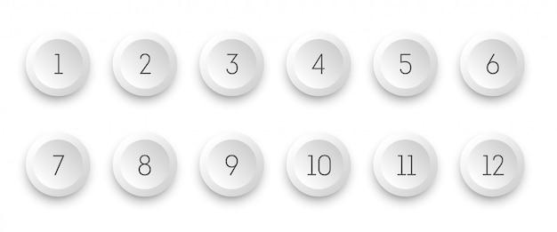 Weiße ikone 3d des kreises stellte mit zahlkugelpunkt von 1 bis 12 ein. Premium Vektoren