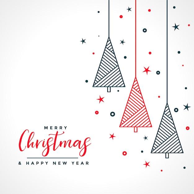 Weiße karte der frohen weihnachten mit rotem und schwarzem baum Kostenlosen Vektoren