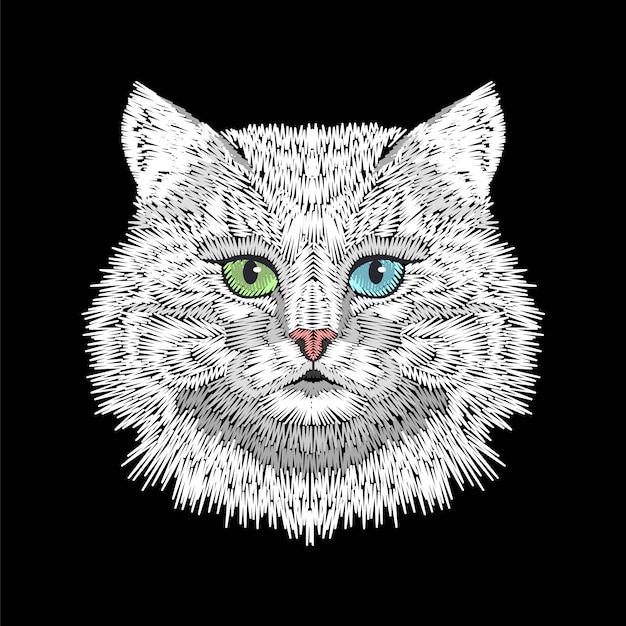 Weiße katze mit gesichtskopf der augen des blauen grüns. Premium Vektoren