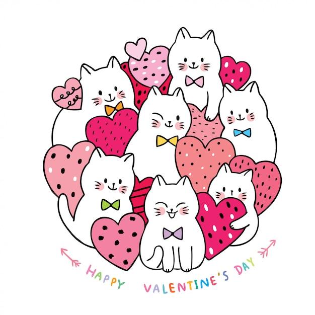 Weiße katzen der karikatur netter valentinstag und vektor vieler herzen. Premium Vektoren