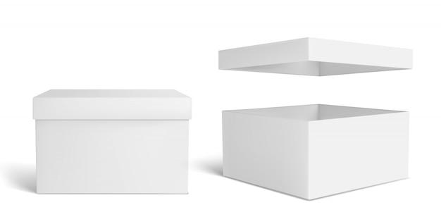 Weiße kiste. leere verpackungsschachtel, verpackung Premium Vektoren