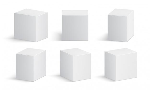 Weiße kiste. leeres medizinpaket. lokalisiertes modell der medizinproduktpappschachteln 3d vektor Premium Vektoren