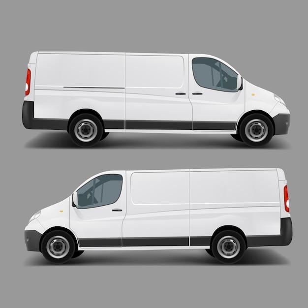 Weiße kommerzielle fracht minivan vektor vorlage Kostenlosen Vektoren