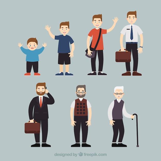 Weiße männer sammlung in verschiedenen altersstufen Kostenlosen Vektoren