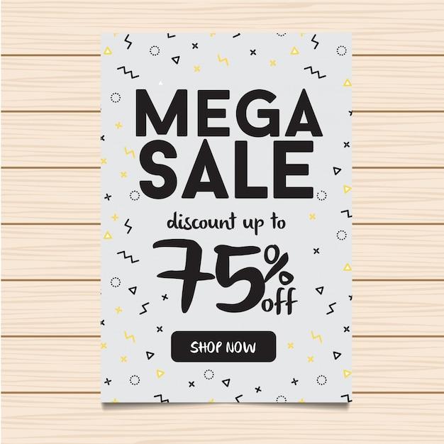 Weiße mega sale banner und flyer illustration Kostenlosen Vektoren