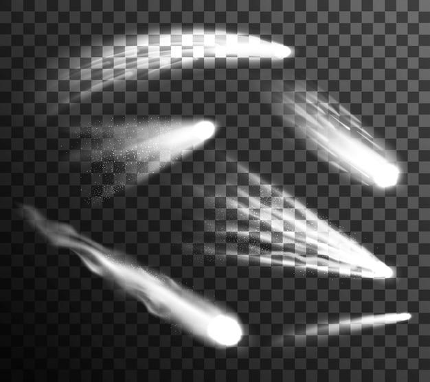 Weiße meteore und kometen gesetzt Kostenlosen Vektoren