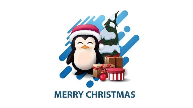Weiße minimalistische moderne weihnachtspostkarte mit blauer abstrakter flüssiger form Premium Vektoren