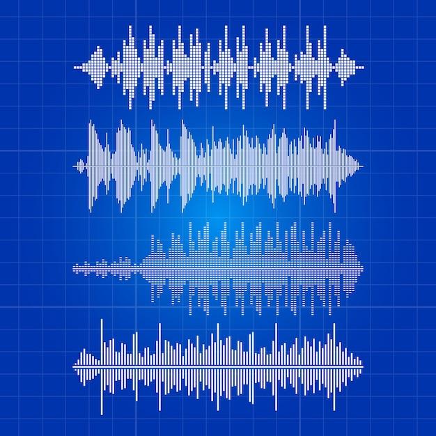 Weiße musik bewegt sammlung - musikalischer impuls auf blauem hintergrund wellenartig Premium Vektoren