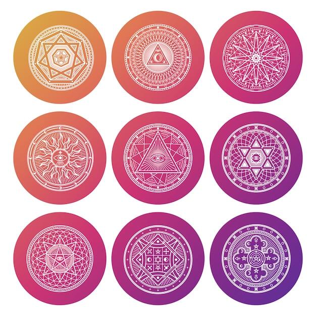 Weiße okkulte, mystische, spirituelle, esoterische helle ikonen Premium Vektoren