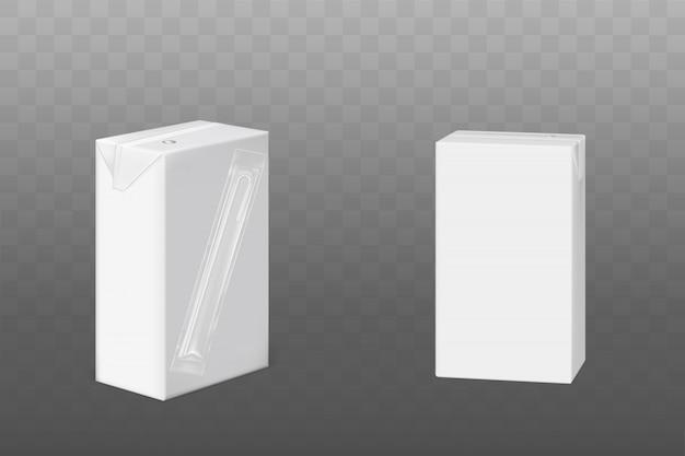 Weiße packung milch oder saft mit trinkhalm Kostenlosen Vektoren