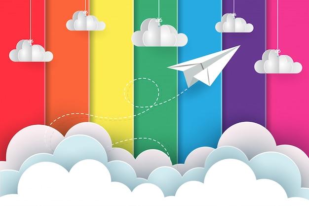 Weiße papierflieger fliegen auf den hintergrund Premium Vektoren