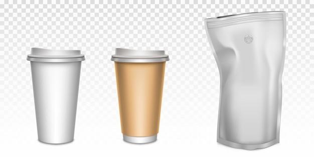 Weiße pappbecher für tee und kaffee sowie folien-reißverschlussbeutel mit entgasungsventil Kostenlosen Vektoren