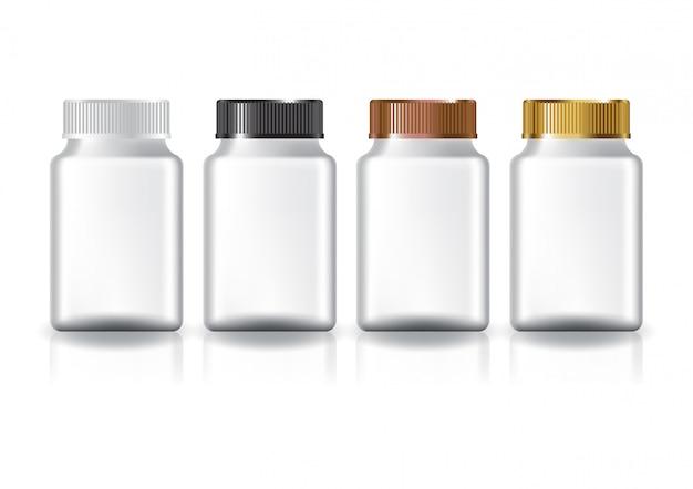 Weiße quadratische ergänzungen oder medizinflasche Premium Vektoren