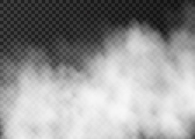 Weiße rauchbeschaffenheit lokalisiert auf transparentem hintergrund. Premium Vektoren