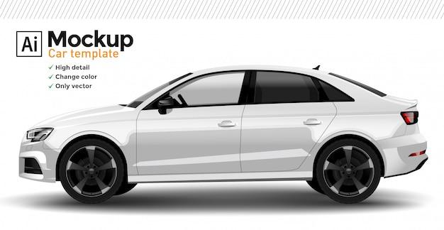 Weiße realistische autoschablone. ändern sie die körperfarbe. Premium Vektoren