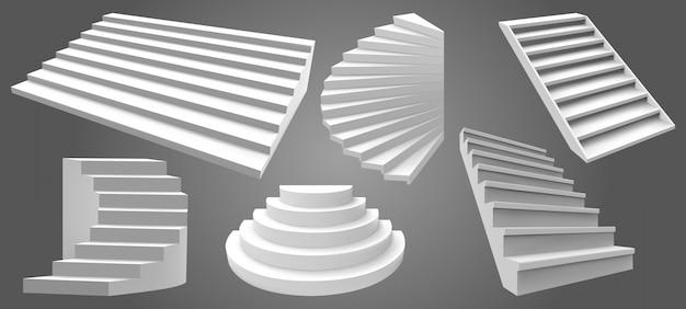 Weiße realistische treppen der architektur. einfache innentreppen, moderne leitertreppen. treppenabbildung. innenarchitektur treppe, treppe zum aufstieg karriere Premium Vektoren