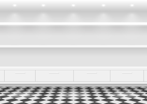 Weiße regale für produkte Premium Vektoren
