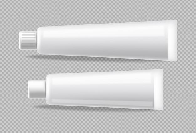 Weiße röhren realistisch isoliert. leeren container bewerben. detaillierte abbildungen für kosmetik, medizin oder zahnpasta 3d Kostenlosen Vektoren