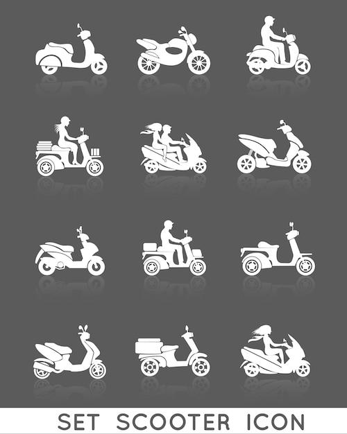 Weiße rollermotorradfahrzeuge mit den eingestellten leuteschattenbildikonen lokalisierten vektorillustration Premium Vektoren