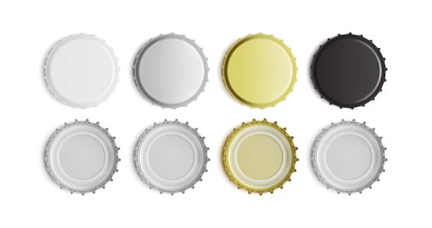Weiße, schwarze, silberne und goldene flaschenverschlussober- und -unteransicht lokalisiert auf weißem hintergrund Premium Vektoren