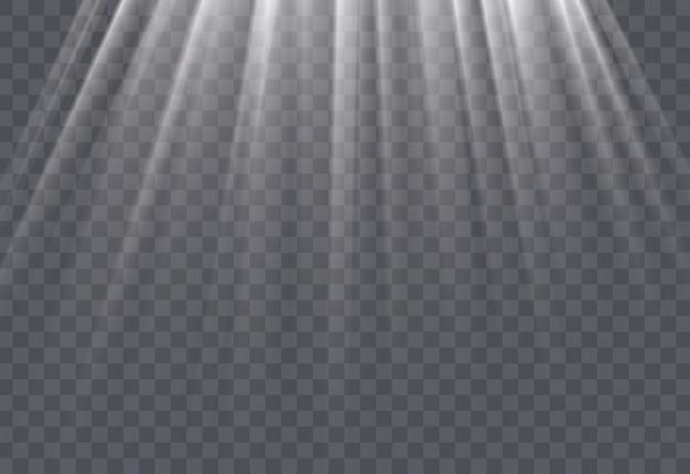 Weiße sonnenstrahlen und glimmlichteffekt Premium Vektoren