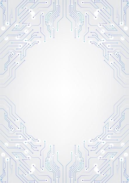 Weiße technologie-hintergrund-schaltpläne Premium Vektoren
