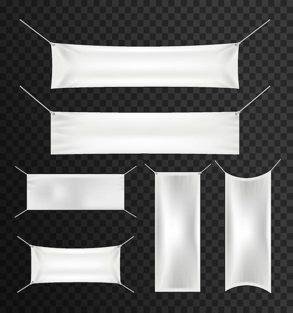 Weiße textilfahnen mit falten stellten für die werbung, partei ein Premium Vektoren