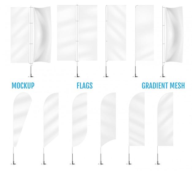 Weiße textilfahnenflaggen Premium Vektoren