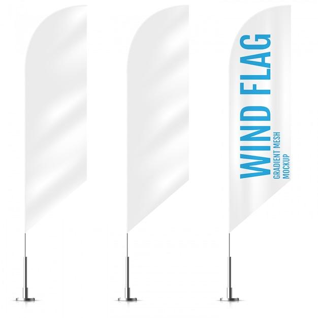 Weiße textilwind-bannerflaggen Premium Vektoren