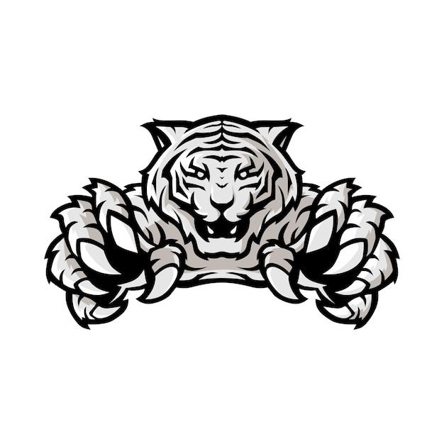 Weiße tiger sport gaming logo Premium Vektoren