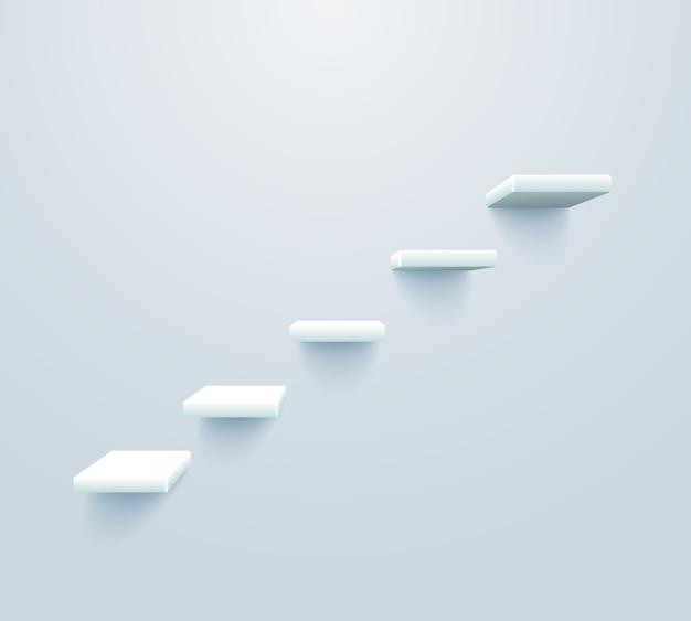 Weiße treppe hoch. treppenhaus zum geschäftserfolgskonzept Kostenlosen Vektoren