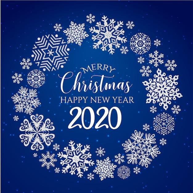 Weiße u. blaue grußkarte der frohen weihnachten und des guten rutsch ins neue jahr 2020 Premium Vektoren