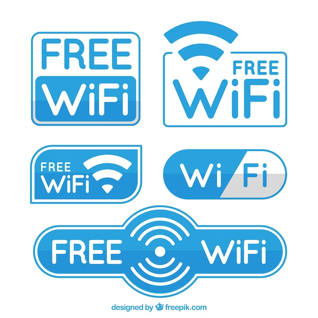 Weiße und blaue wifi aufkleber im flachen entwurf Kostenlosen Vektoren