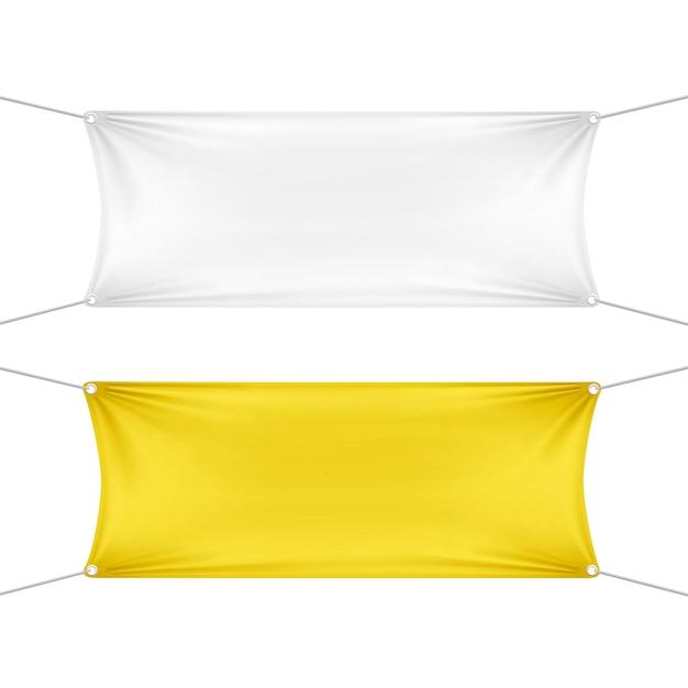 Weiße und gelbe leere leere horizontale rechteckige banner mit eckenseilen Premium Vektoren
