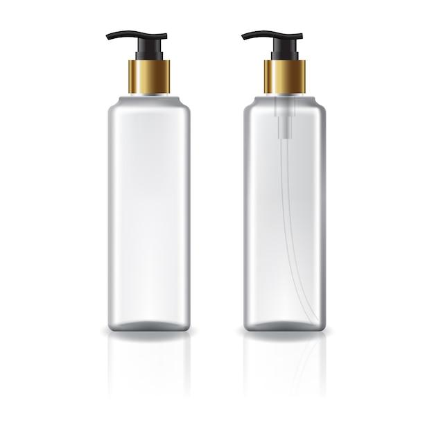 Weiße und klare quadratische kosmetikflasche mit goldenem pumpenkopf. Premium Vektoren