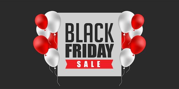 Weiße und rote luftballons des black friday sale banner design template Premium Vektoren
