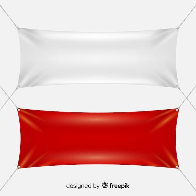 Weiße und rote textilfahnen Kostenlosen Vektoren