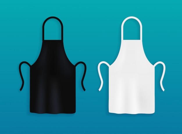 Weiße und schwarze küchenschürzen. kochuniform zum kochen. Premium Vektoren