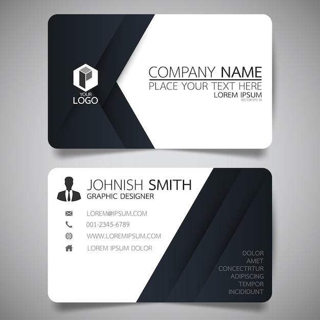 Weiße Und Schwarze Layout Visitenkarte Vorlage Premium Vektor