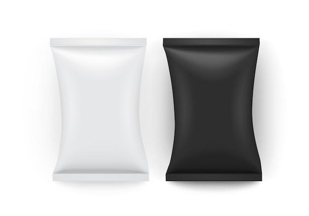 Weiße und schwarze papierverpackung isoliert Premium Vektoren