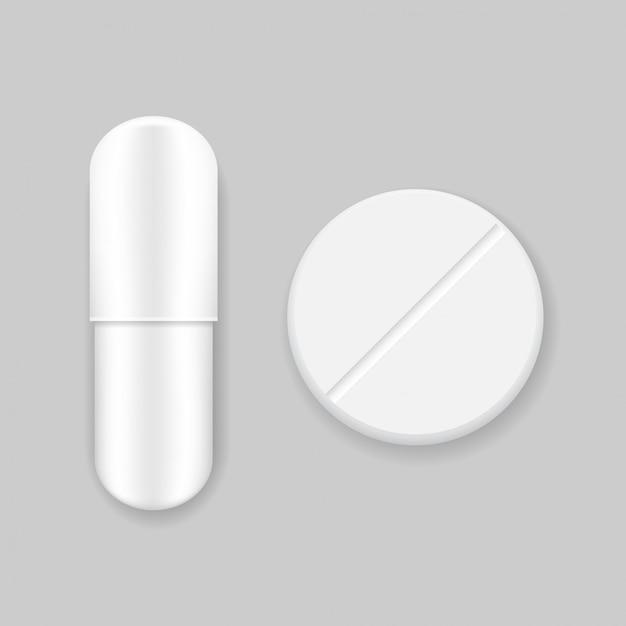 Weiße vektorpille und -tablette Premium Vektoren