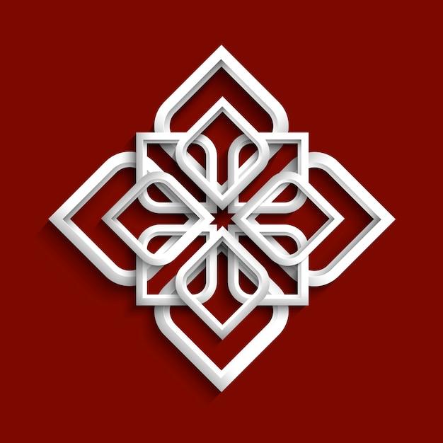 Weiße verzierung 3d in der arabischen art Premium Vektoren