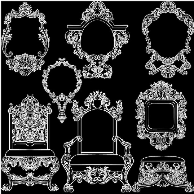 wei e vintage m bel kollektion download der kostenlosen vektor. Black Bedroom Furniture Sets. Home Design Ideas