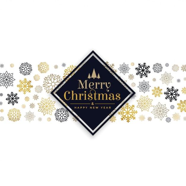 Weiße weihnachtskarte mit schneeflockenmusterdesign Kostenlosen Vektoren