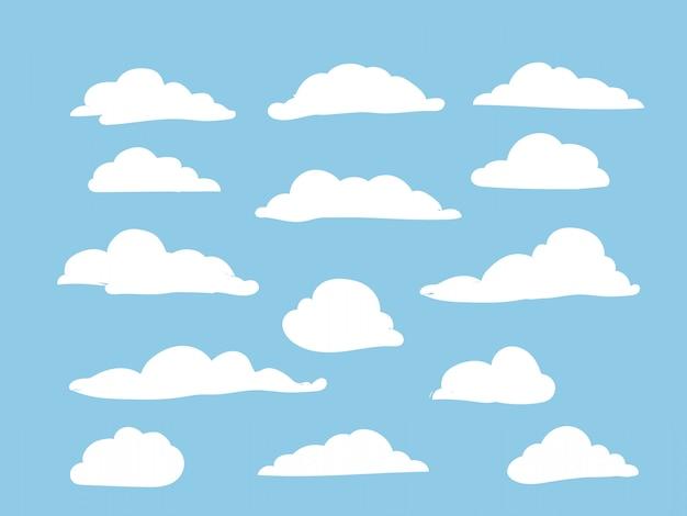 Weiße wolken am himmel gesetzt Premium Vektoren