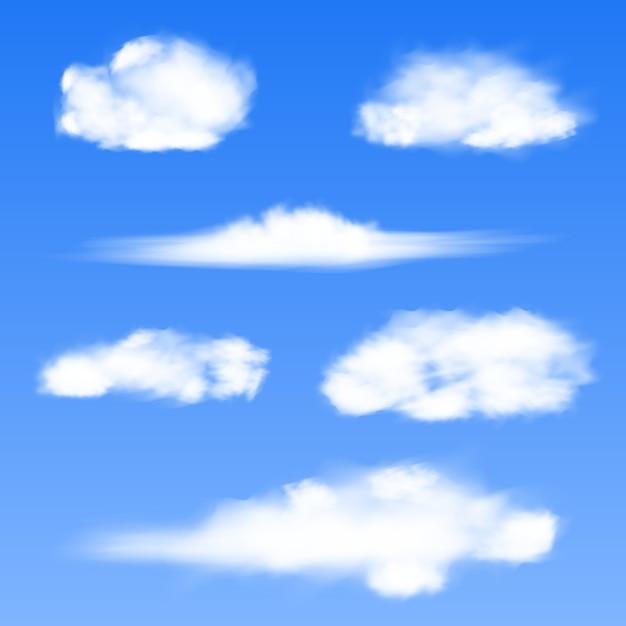Weiße wolken auf blauem grund. Premium Vektoren