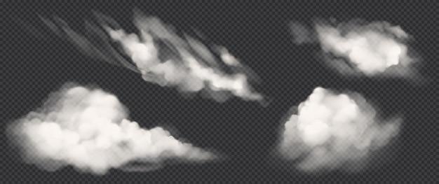 Weiße wolken setzen, realistische vektorrauchikonen Kostenlosen Vektoren