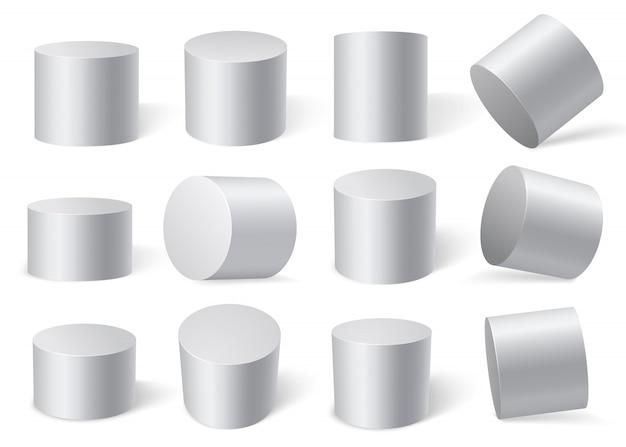 Weiße zylinder in verschiedenen winkeln. isoliert auf weißem hintergrund. Premium Vektoren