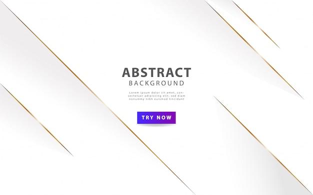 Weißer abstrakter luxushintergrund mit goldener linie Premium Vektoren